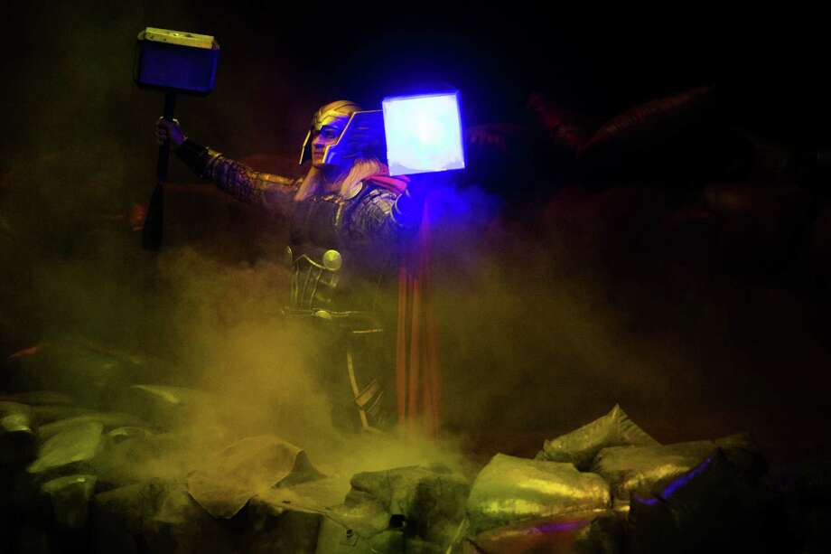 "Thor appears during ""Marvel Universe Live"" at the KeyArena in Seattle on Friday, Feb. 19, 2016. Photo: GRANT HINDSLEY, SEATTLEPI.COM / SEATTLEPI.COM"