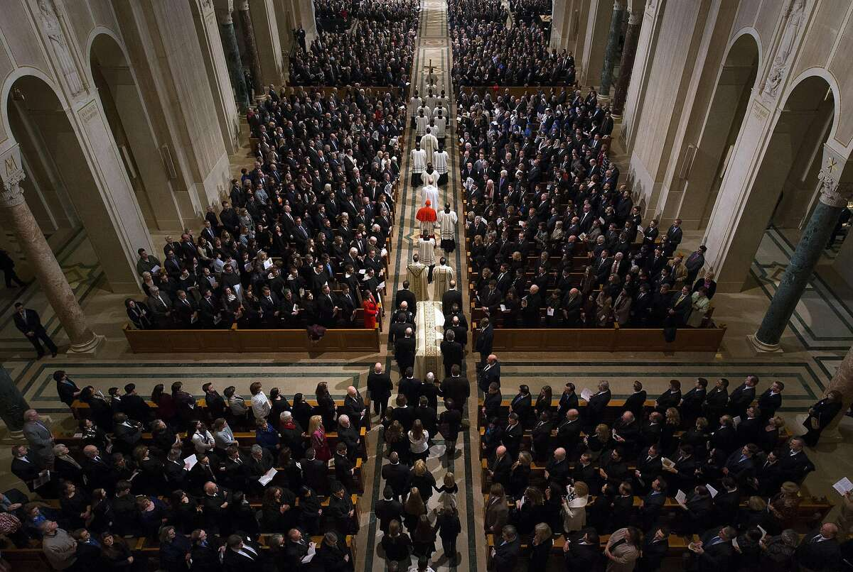 The procession for the funeral mass for the late Supreme Court Associate Justice Antonin Scalia at the Basilica of the National Shrine of the Immaculate Conception in Washington, Saturday, Feb. 20, 2016. (Doug Mills/The New York Times via AP, Pool)