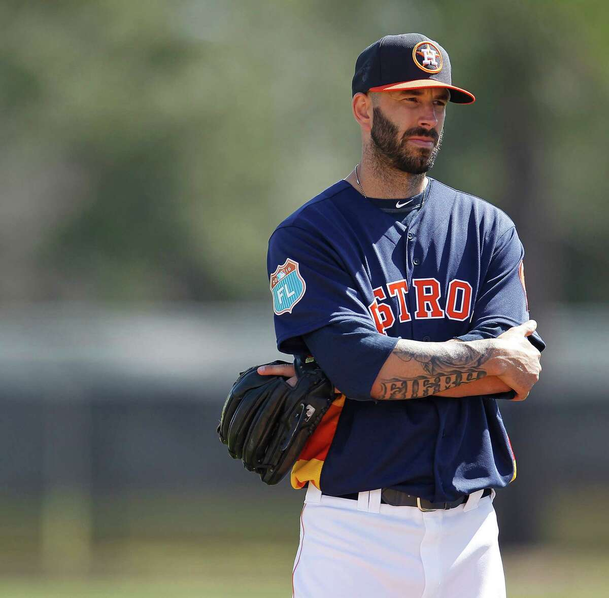 Houston Astros pitcher Mike Fiers during the first workout for Houston Astros pitchers and catchers for spring training in Kissimmee, Florida, Friday, Feb. 19, 2016.