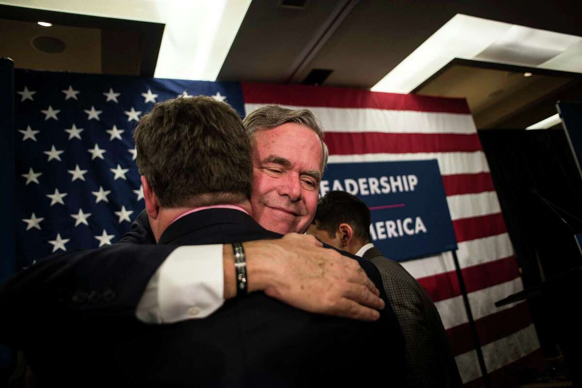 Jeb Bush greets supporters after his concession speech on the night of the South Carolina Republican primary, in Columbia, S.C., Feb. 20, 2016. Donald Trump was projected the winner shortly after polls closed; an hour later, Bush announced that he was ending his bid for the nomination.