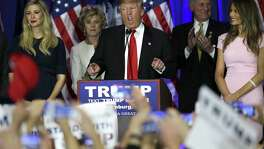 Republican presidential hopeful Donald Trump speaks at his primary night party in Spartanburg, S.C.