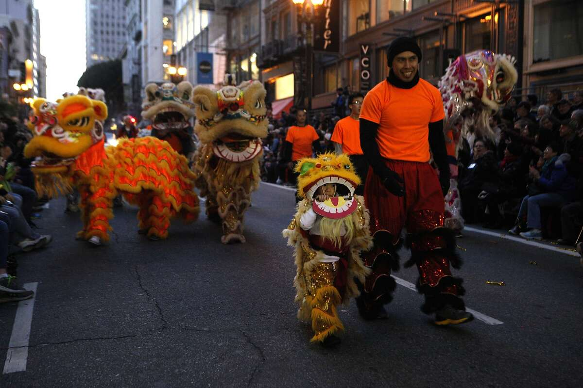 Lion dancers perform in the streets during the annual Chinese New Year Parade in San Francisco, Calif., on Saturday Feb. 20, 2016