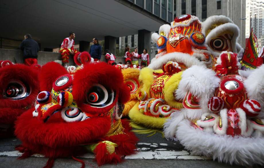 Lion dancer heads wait to be used by performers during the annual Chinese New Year Parade in San Francisco, Calif., on Saturday Feb. 20, 2016 Photo: Brittany Murphy, The Chronicle