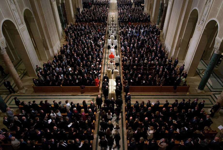 The procession for the funeral mass for the late Supreme Court Associate Justice Antonin Scalia at the Basilica of the National Shrine of the Immaculate Conception in Washington, Saturday, Feb. 20, 2016.  (Doug Mills/The New York Times via AP, Pool) Photo: Doug Mills, POOL / Associated Press / THE NEW YORK TIMES