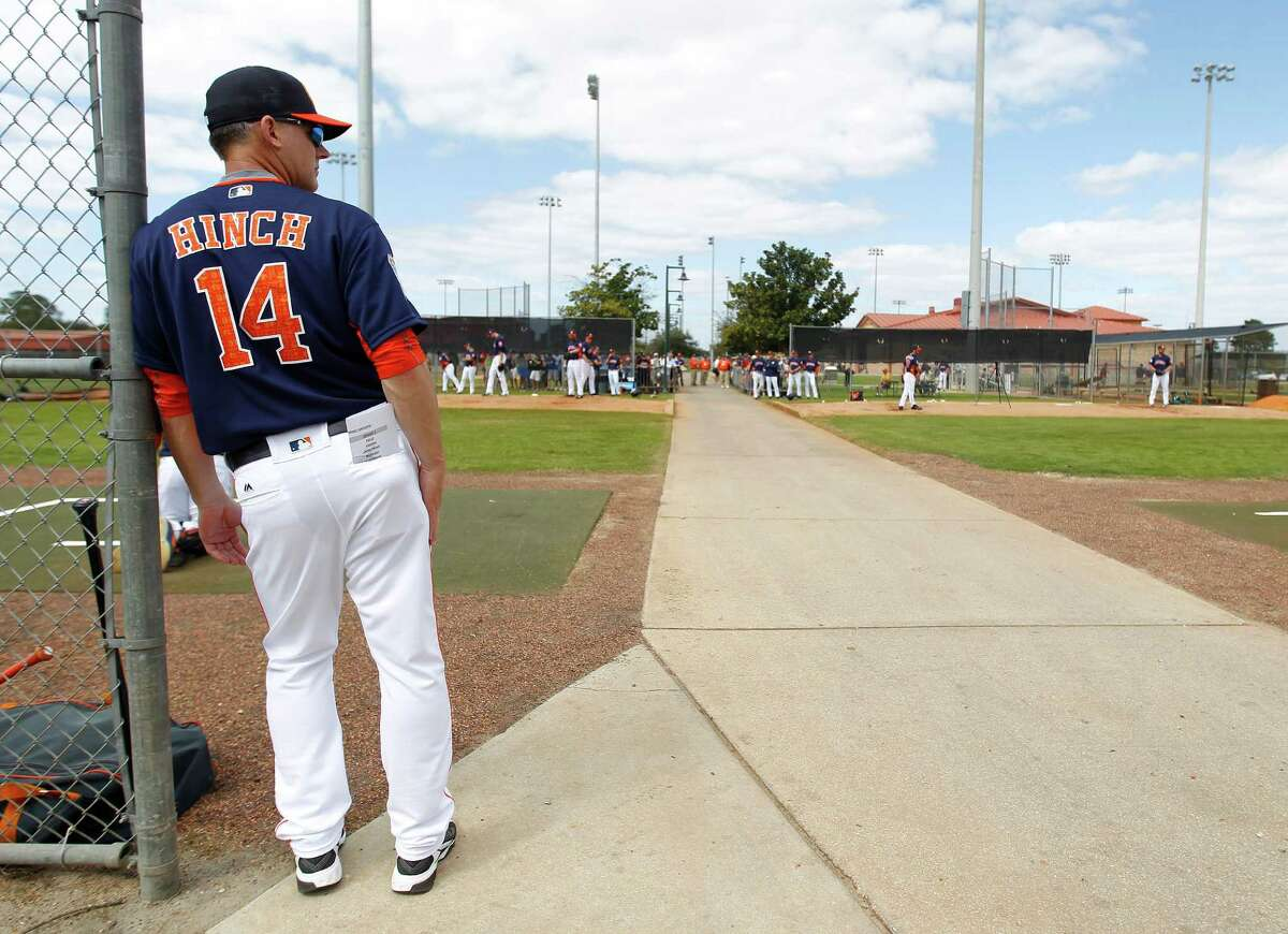 When Astros manager A.J. Hinch looks at his team this spring, he'll see 20 of the 25 players on last year's AL Division Series roster.