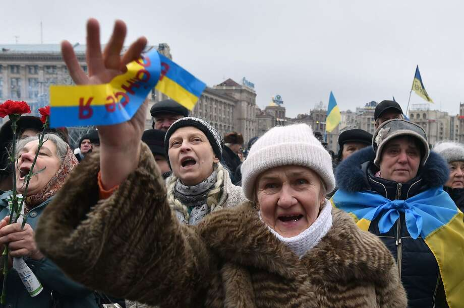Demonstrators rally at Independence Square in Kiev. Recently, some respected political reformers have resigned, citing disenchantment with the government. Photo: Sergei Supinsky, AFP / Getty Images