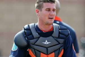 Houston Astros catcher Tyler Heineman during spring training in Kissimmee, Florida, Sunday, Feb. 21, 2016.
