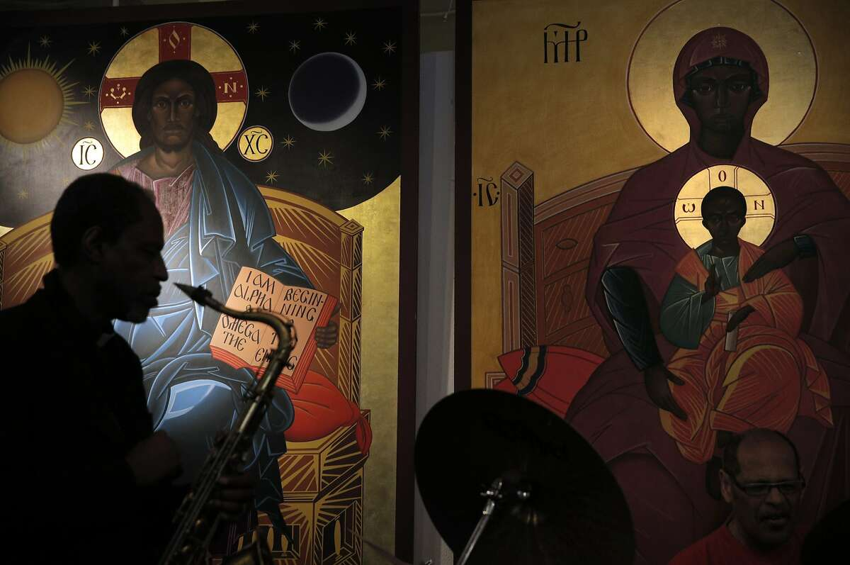 The Archbishop Franzo W. King (on saxophone) leads Sunday service at St. John Coltrane African Orthodox Church on Sunday, February 21, 2016, in San Francisco, Calif., on Sunday, February 21, 2016. The church is in peril of possible eviction from the West Bay Conference Center.