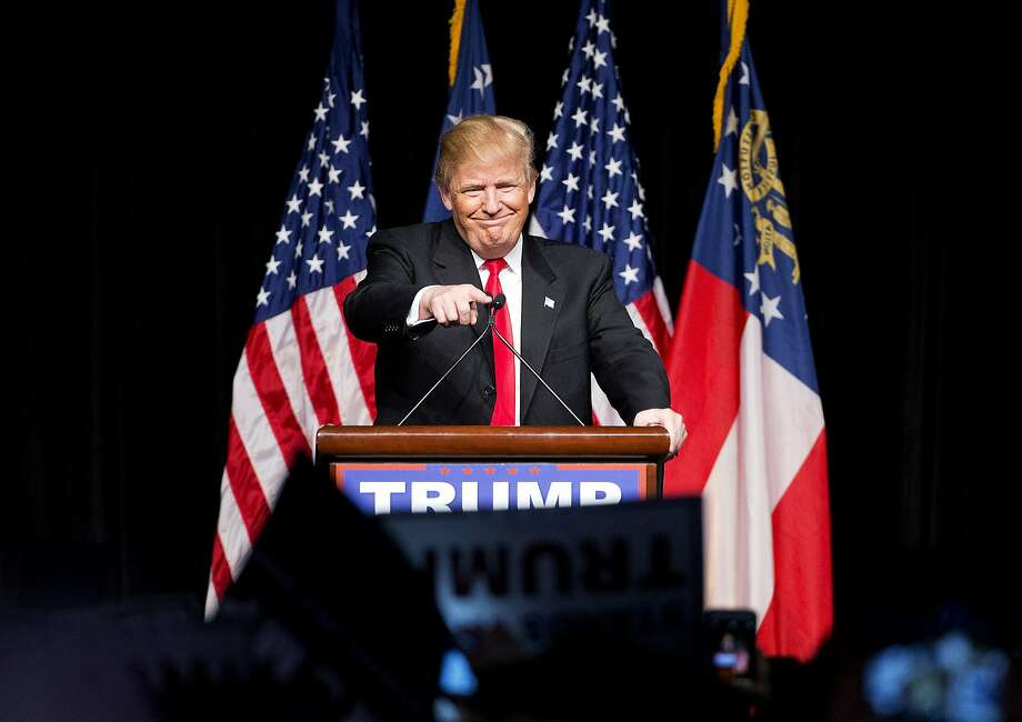 Republican presidential candidate Donald Trump, speaking in Atlanta, heads to the Nevada caucuses after two victories. Photo: David Goldman, Associated Press
