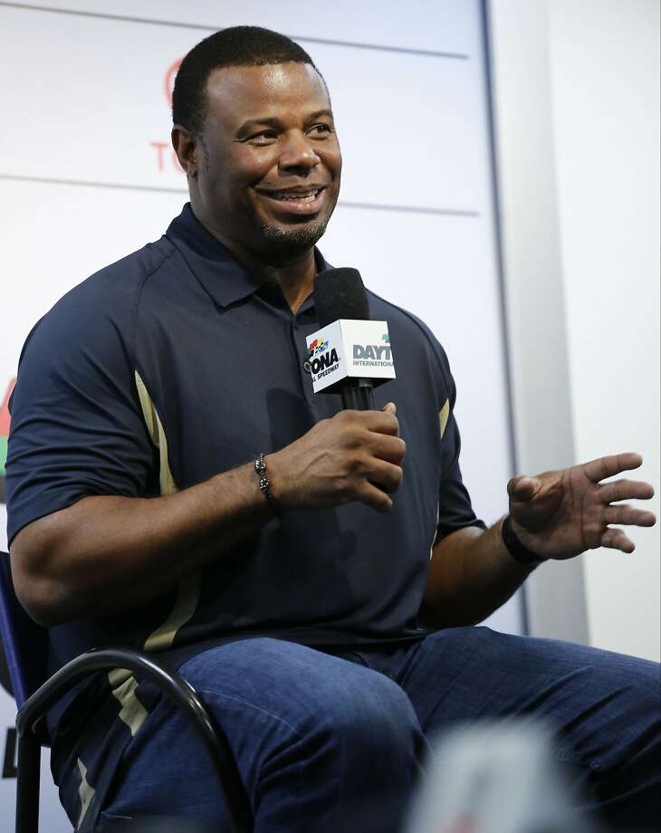 Baseball Hall of Fame centerfielder Ken Griffey Jr speaks to the media during a news conference before the NASCAR Daytona 500 Sprint Cup Series auto race at Daytona International Speedway in Daytona Beach, Fla., Sunday, Feb. 21, 2016. Griffey is the honorary starter of the race. (AP Photo/Terry Renna) Photo: Terry Renna, Associated Press