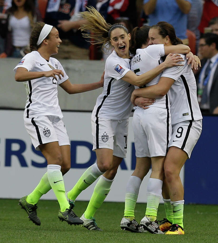 U.S. Lindsey Horan, right, celebrates her goal with Mallory Pugh, left, Morgan Brian, Kelly O'Hara, during the second half of game against Canada during the  CONCACAF Olympic women's soccer qualifying championship final at BBVA Compass Stadium Sunday, Feb. 21, 2016, in Houston. Photo: Melissa Phillip, Houston Chronicle / © 2016 Houston Chronicle