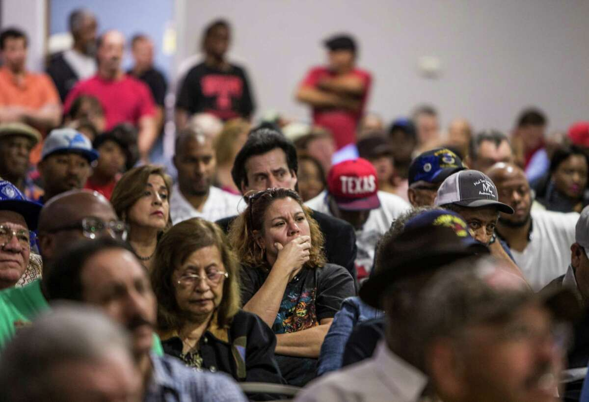 Union members attend a meeting of the Texas-Houston Committee to Protect Pensions at the Teamsters Local 988 hall on Sunday after discovering pension plans might be cut because of insufficient funds.