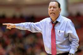 Houston Cougars Head Coach, Kelvin Sampson, shouts instructions to his team in the second half against the Temple Owls in a college basketball game on Sunday, February 21, 2016 at Hofheinz Pavilion.
