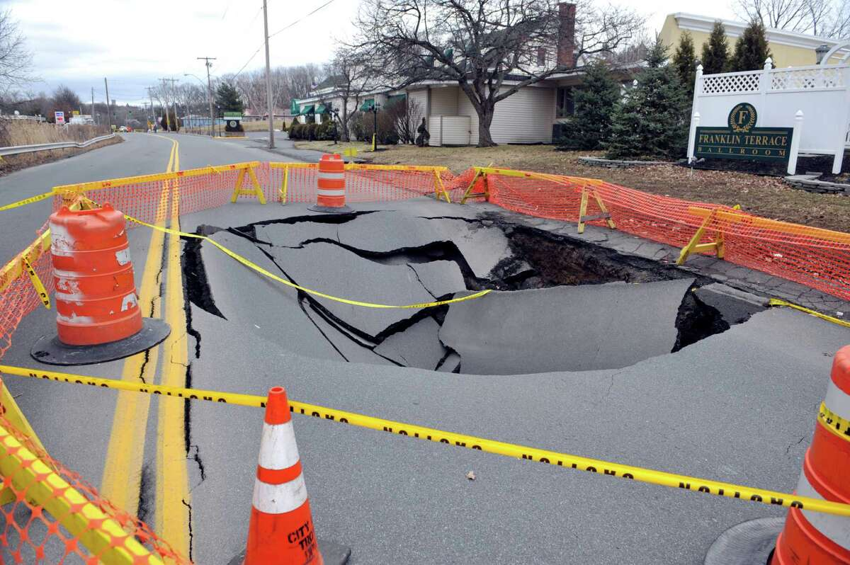 A view of the area where part of Campbell Avenue collapsed, seen here on Sunday, Feb. 21, 2016, in Troy, N.Y. (Paul Buckowski / Times Union)