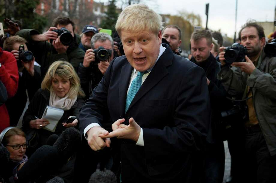 London Mayor Boris Johnson delivers a statement to the media regarding his position on the forthcoming EU referendum outside his home in London on February 21 , 2016 London mayor Boris Johnson on February 21 said he would support a vote for Britain to leave the European Union in a blow for Prime Minister David Cameron ahead of a membership referendum in June. / AFP / NIKLAS HALLE'NNIKLAS HALLE'N/AFP/Getty Images Photo: NIKLAS HALLE'N / AFP or licensors