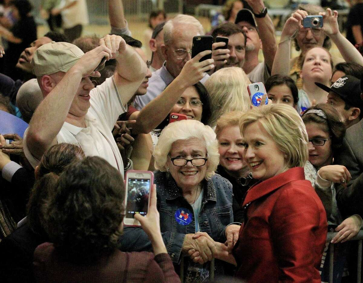 Hillary Clinton greets supporters after a campaign event at Texas Southern University late Saturday.