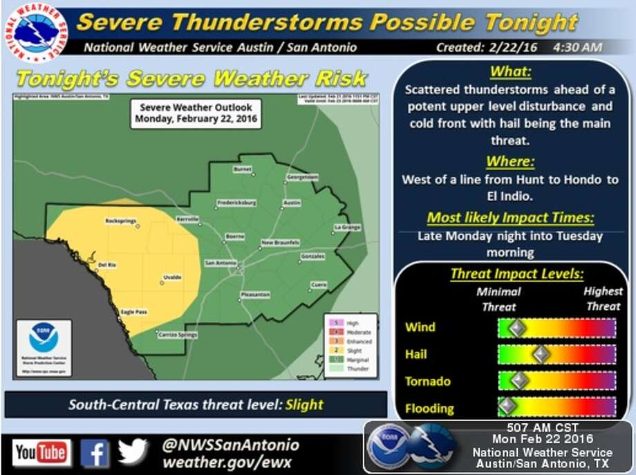 Severe weather is expected throughout South Central Texas on Monday. Photo: National Weather Service