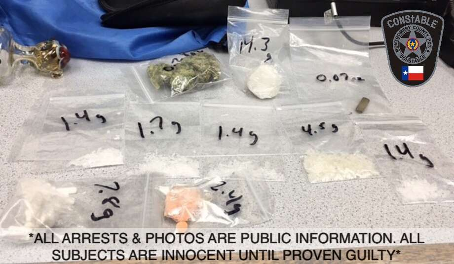 Methamphetamines and other drugs seized during a traffic stop in  Kingwood. Photo: Montgomery County Constable's Office Precinct 4