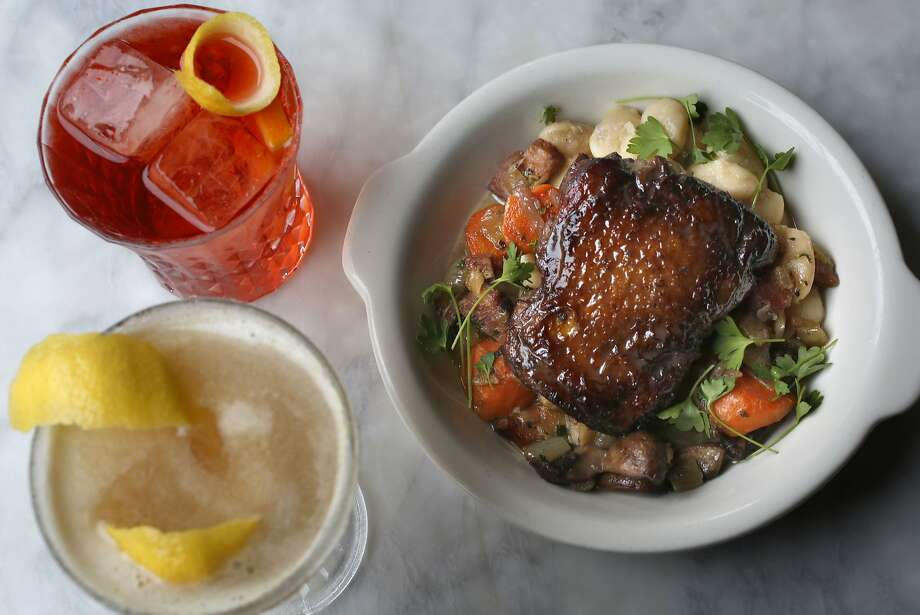 The free Friday lunch offered at Comstock Saloon on this day is Coq au Vin at Comstock Saloon.  Photo: Liz Hafalia, San Francisco Chronicle