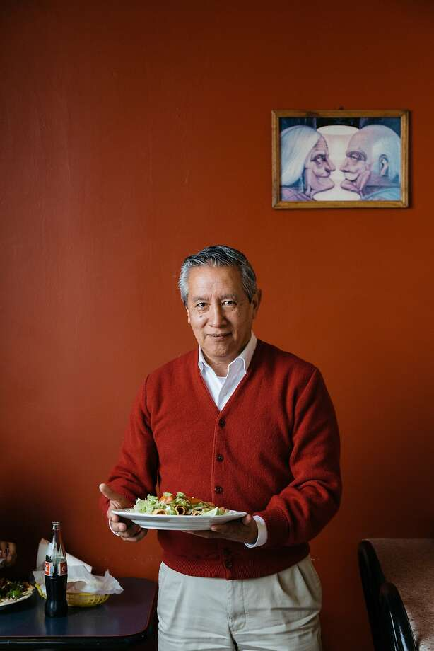 Customer Fernando Yela with a plate of flautas at Taqueria Michoacan in Napa, Calif., February 20, 2016. Photo: Jason Henry, Special To The Chronicle