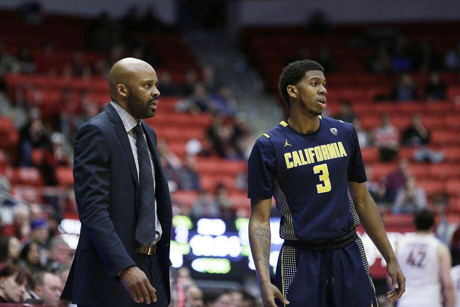 California head coach Cuonzo Martin, left, speaks with Tyrone Wallace (3) during the second half of an NCAA college basketball game against Washington State, Sunday, Feb. 21, 2016, in Pullman, Wash. (AP Photo/Young Kwak) Photo: Young Kwak, Associated Press