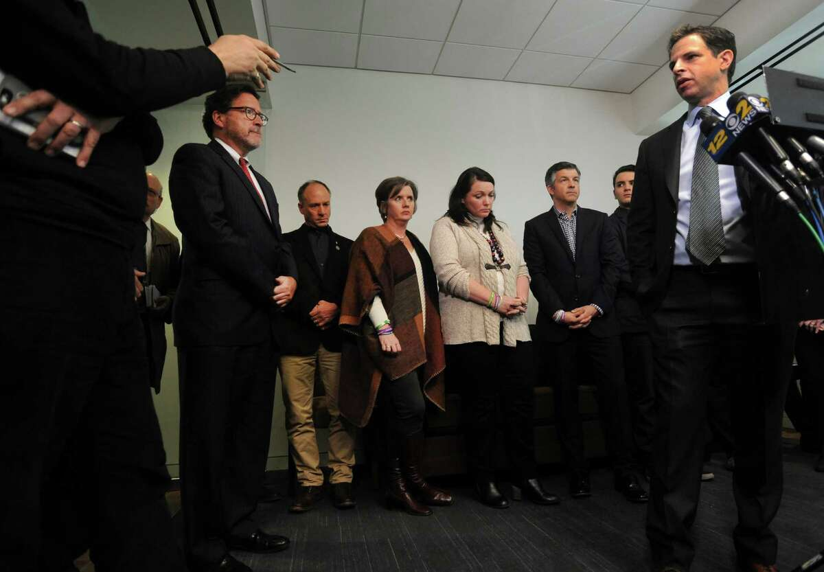 Attorney Joshua Koskoff, along with the Sandy Hook families that are suing Remington Arms for providing the AR-15-type Bushmaster, held a press conference at Koskoff, Koskoff & Bieder in Bridgeport on Monday, February 22, 2016.