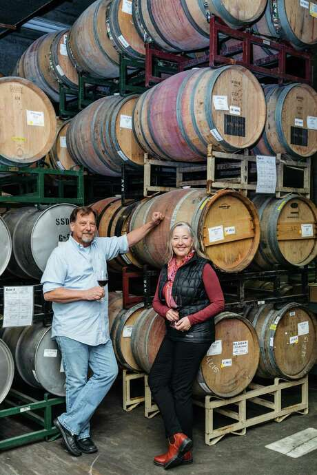 John And Tracey Skupny of Lange and Reed with barrels that they keep at the Laird Family Estate in Oak Knoll, Calif., February 20, 2016. Photo: Jason Henry, Special To The Chronicle