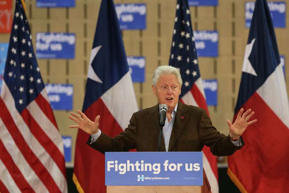 Former President Bill Clinton addresses the crowd as he campaigns for Hillary Clinton in Laredo at Texas A&M International University, Monday, Feb 22, 2016. Early in the day, Clinton attended a private fundraiser at the home of U.S. Rep. Henry Cuellar. Photo: JERRY LARA, San Antonio Express-News / © 2016 San Antonio Express-News