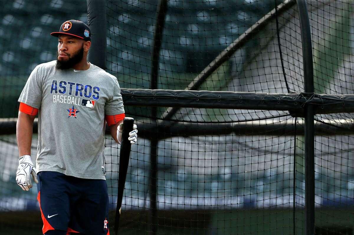 Houston Astros infielder Jon Singleton during spring training in Kissimmee, Florida, Monday, Feb. 22, 2016.( Karen Warren / Houston Chronicle )