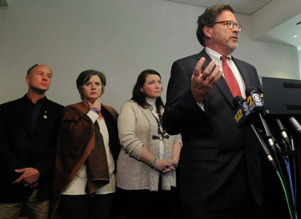 Bill Sherlach, husband of Mary Sherlach, a school psychologist killed at Sandy Hook Elementary School speaks at a press conference at Koskoff, Koskoff & Bieder in Bridgeport, Conn. on Monday, Feb. 22, 2016. A state Superior Court judge in Bridgeport will hear final arguments from attorneys representing the 10 families and Bushmaster, and then decide whether the lawsuit will be dismissed or whether it will be allowed to progress toward a jury trial.