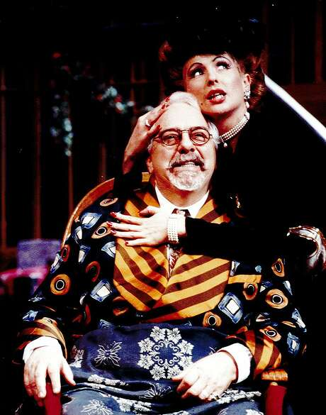 George Ward (as Sheridan Whiteside) with Rebecca Dines (as Lorraine Sheldon) in the TheatreWorks Silicon Valley production of The Man Who Came to Dinner, 1995