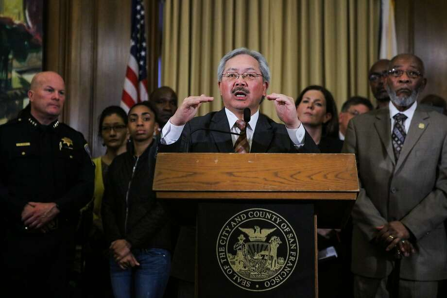 Mayor Ed Lee speaks to the media at a press conference regarding police reforms in wake of the Mario Woods killing, at City Hall, in San Francisco, California on Monday, February 22, 2016. Photo: Gabrielle Lurie, Special To The Chronicle