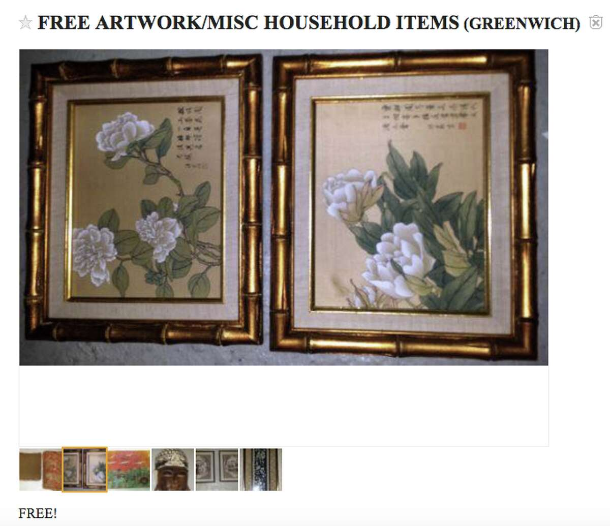 Some random art and miscellaneous items Looking for some cool artwork or random household knick-knacks. A Greenwich residents is getting rid of some cool artwork for free. Here's the link.