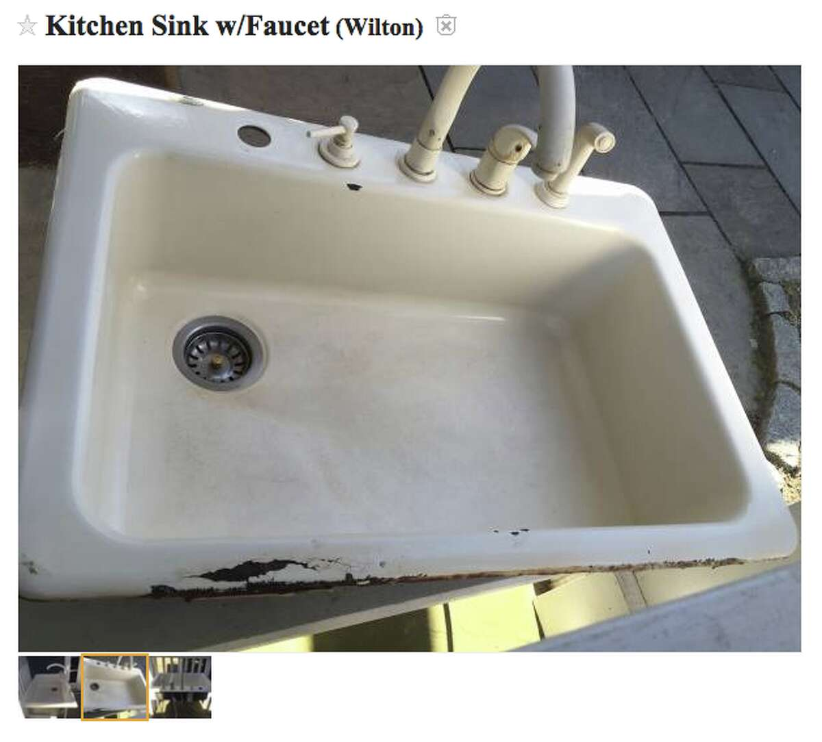 """Everything plus the kitchen sink Need a kitchen sink and a facet? Someone in Wilton has a kitchen sink complete with facet and sprayer up for grabs. The color: """"biscuit."""" Here's the link."""