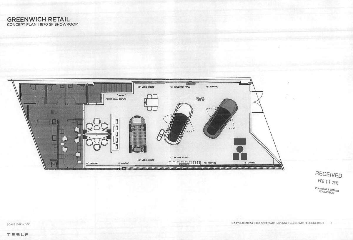 The proposed floor plan for the educational gallery Tesla hopes to open at 340 Greenwich Avenue.