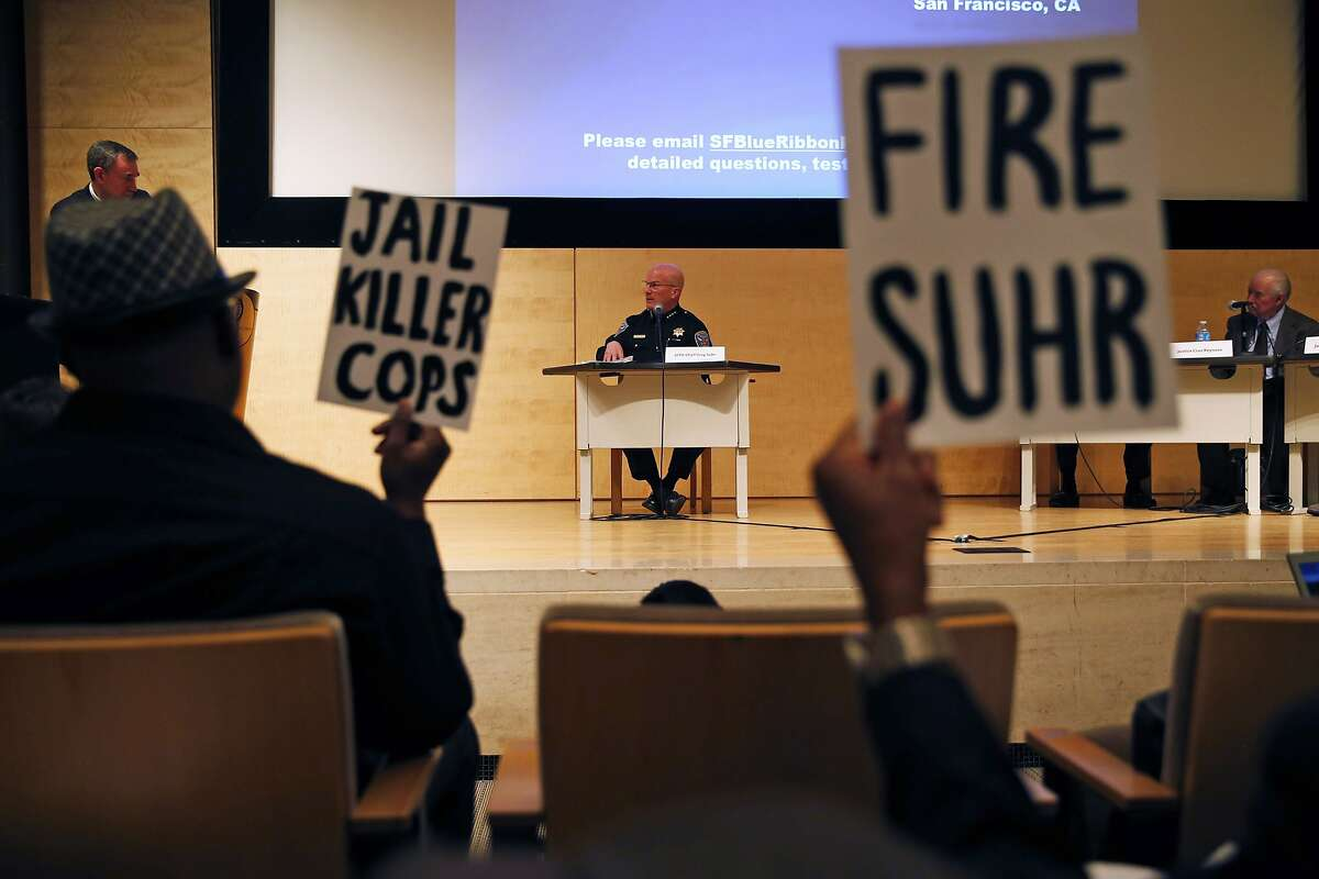 San Francisco Police Chief Greg Suhr testifies in front of Blue Ribbon Panel on Transparency, Accountability, and Fairness in Law Enforcement at SF Public Library in San Francisco, Calif., on Monday, February 22, 2016.