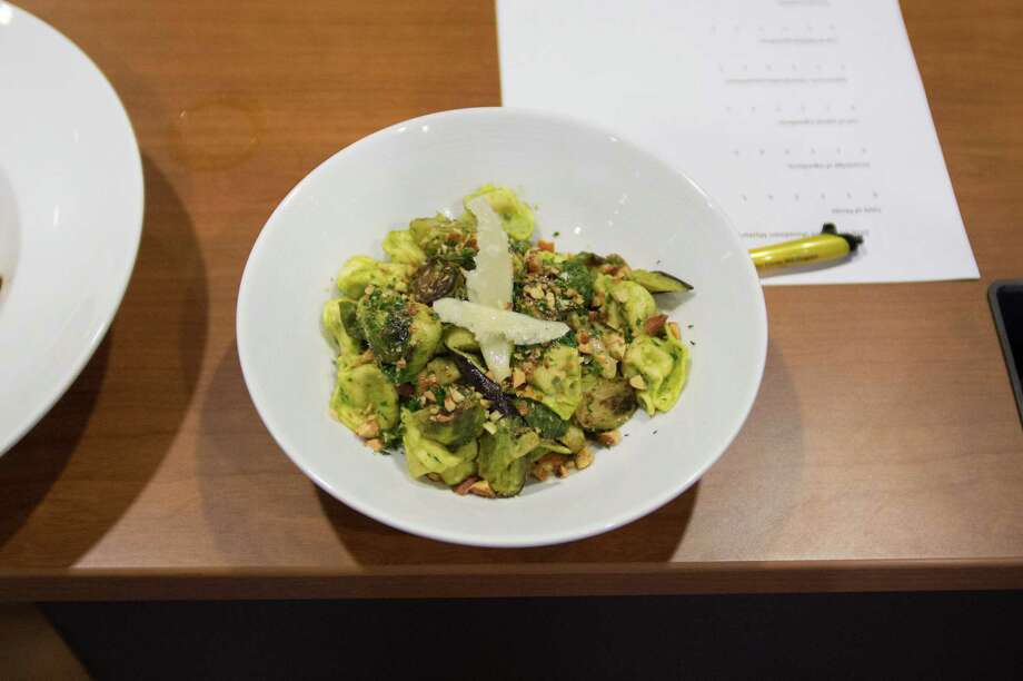 This recipe Cheese Tortellini with Pea Pesto, Roasted Brussels Sprouts and Eggplant come from Team OK! participating in Slimdown Showdown 2016 Mystery Basket Throwdown.  H-E-B Slim Down Showdown 2016 Photo: STF / Darren Abate Media, LLC