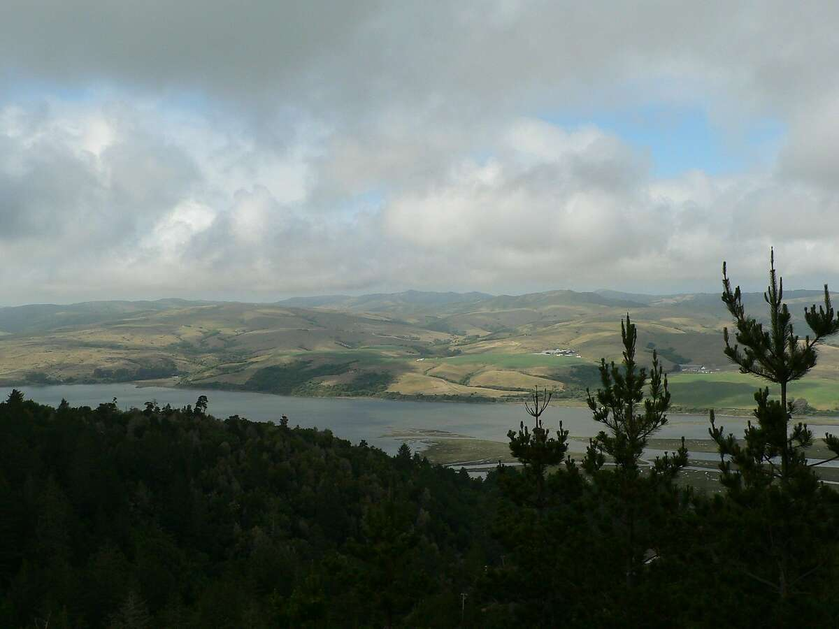 From Inverness Ridge at Point Reyes National Seashore, view east across Tomales Bay and beyond across coastal foothills of western Marin
