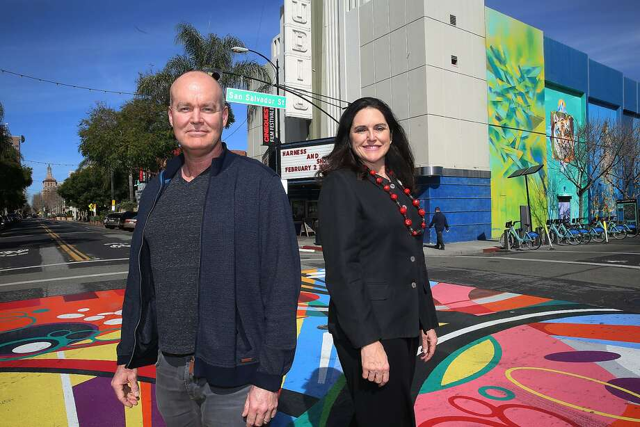 CEO and co-founder Halfdan Hussey (left) and president and co-founder Kathleen J. Powell (right) near Cinequest headquarters in San Jose, California, on Monday, February 22, 2016. Photo: Liz Hafalia, San Francisco Chronicle