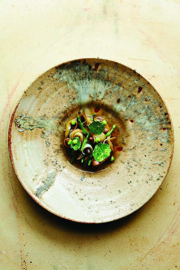 Abalone, Rancho Gordo beans and nasturtium vinegar at Meadowood.