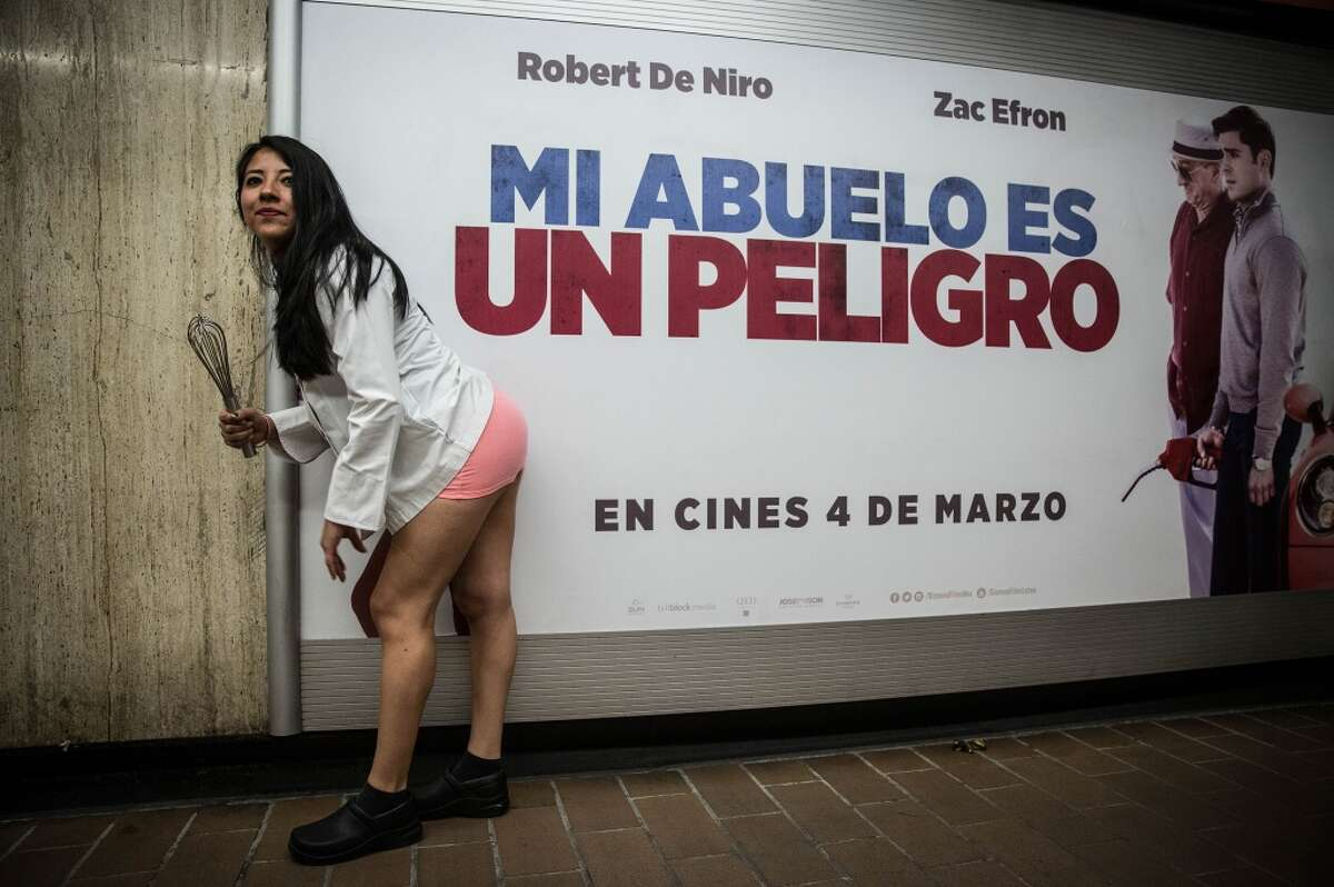 A woman takes part in the event called No Pants Subway Ride 2016 at the Mexico City Subway in Mexico City, Mexico on February 21, 2016.