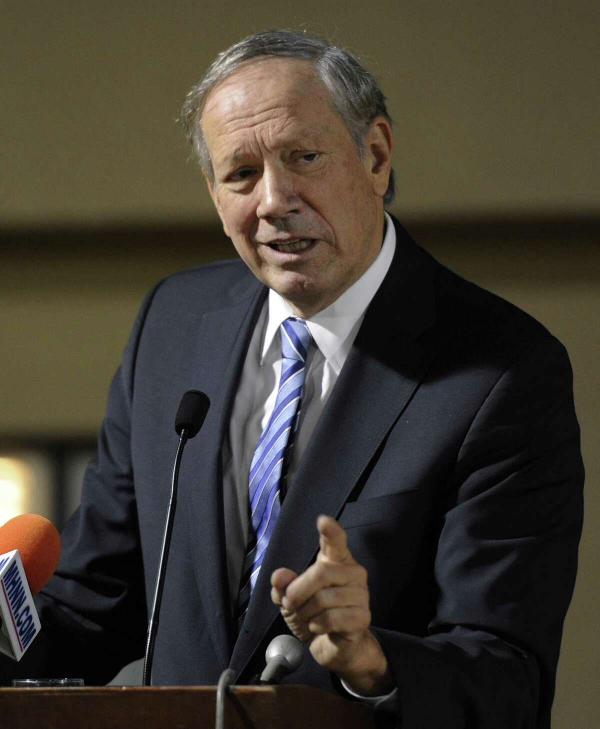 Former New York Governor George Pataki speaks at the NYS Conservative Party luncheon at the Holiday Inn in Colonie, N.Y. Jan. 30, 2012. Trump?s final contribution to Republican George Pataki was a $10,000 gift in 2000. (Skip Dickstein/Times Union archive)