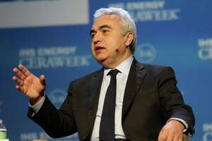 """Fatih Birol, Executive Director of the International Energy Agency HE answers a question during a talk titled """"Energy Markets in Turmoil: The Shape of Things to Come"""" during CERA conference at Hilton Americas on Monday, Feb. 22, 2016, in Houston. ( Elizabeth Conley / Houston Chronicle )"""