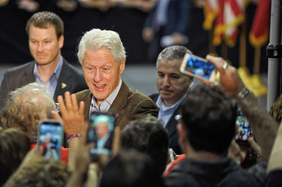 Former President Bill Clinton greets supporters of his wife while on the campaign trail in Laredo. Photo: Danny Zaragoza, Staff Photographer / LAREDO MORNING TIMES