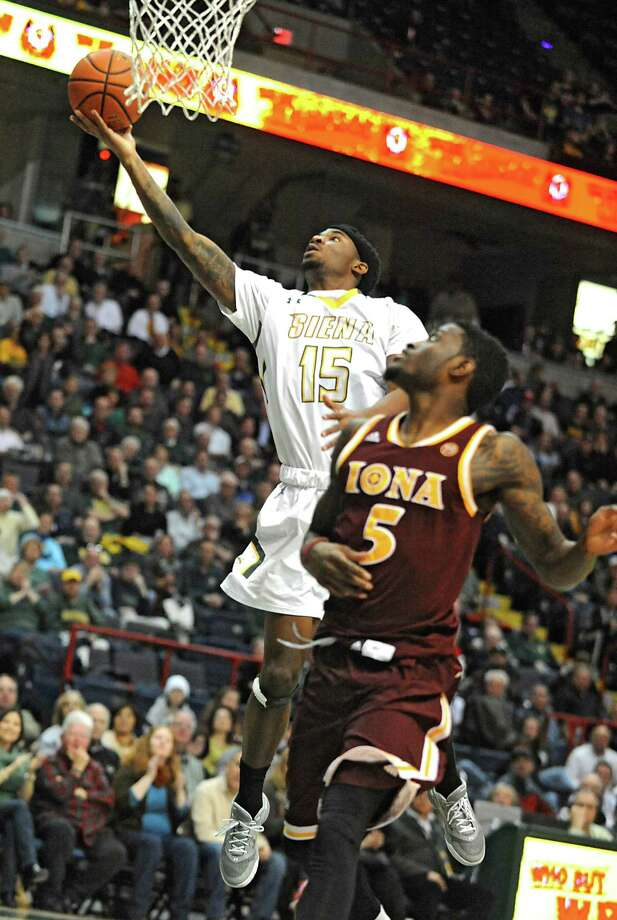 Siena's Nico Clareth drives to the hoop during a basketball game against Iona at the Times Union Center on Monday, Feb. 22, 2016 in Albany, N.Y. (Lori Van Buren / Times Union) Photo: Lori Van Buren / 10035521A