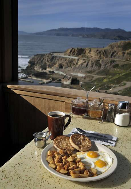 Louis' is a picturesque diner overlooking the Sutro Baths in San Francisco, Calif., on Monday, February 22, 2016, Two eggs any style, breakfast potatoes and an English muffin ($8.25) and coffee ($2.75). Photo: Carlos Avila Gonzalez, The Chronicle