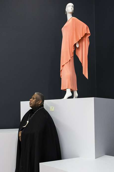 André Leon Talley, top, former American editor-at-large of Vogue Magazine, is curating the Oscar de la Renta show in S.F. Above: Early de la Renta on display. Photo: Stephen Lam, Special To The Chronicle