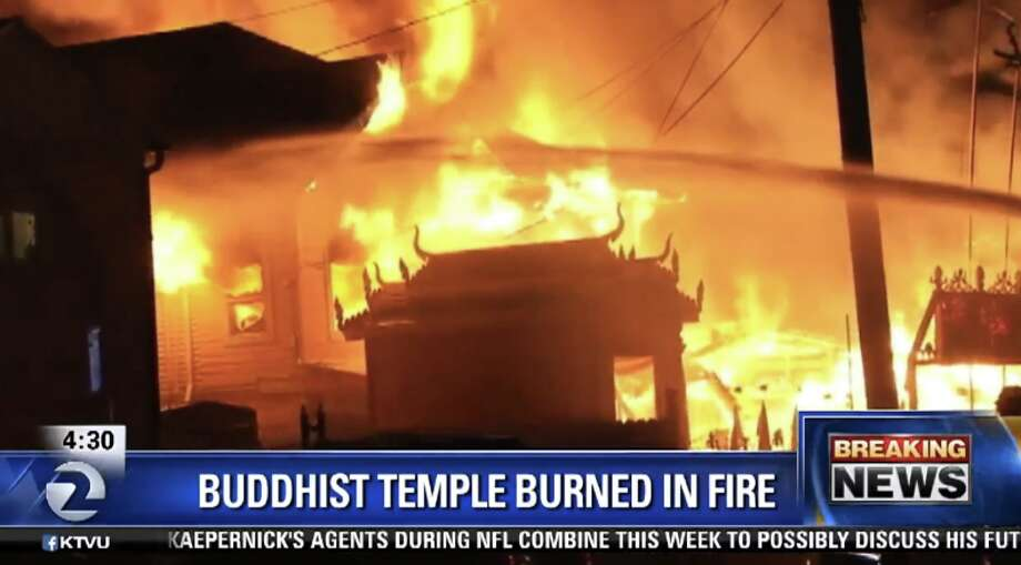 A three-alarm fire at a Buddhist temple at 52nd Avenue and San Leandro Street in Oakland destroyed the structure early Tuesday, February 23, 2016. Photo: Courtesy KTVU