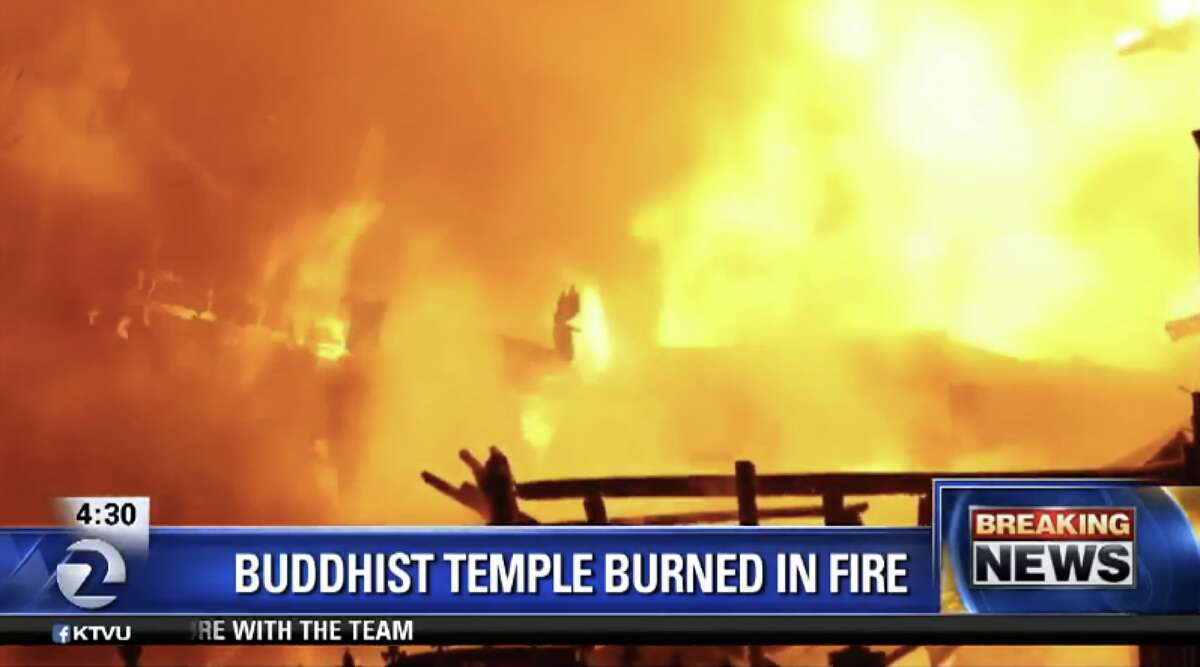A three-alarm fire at a Buddist temple at 52nd Avenue and San Leandro Street in Oakland destroyed the structure early Tuesday, February 23, 2016.