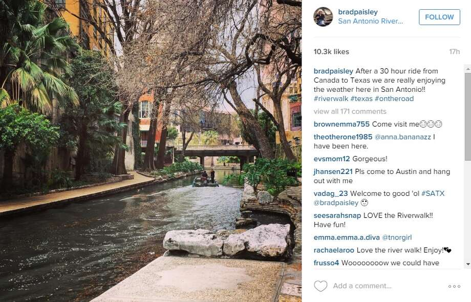 """After a 30 hour ride from Canada to Texas we are really enjoying the weather here in San Antonio!! #riverwalk #texas #ontheroad,"" @BradPaisley. Photo: Instagram.com"
